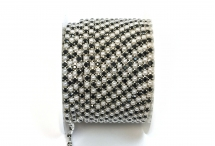 Стразовая цепочка, акрил-стекло, стразы 2 мм, жемчуг-черный в серебре