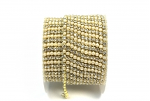 Стразовая цепочка, акрил-стекло, стразы 2 мм, жемчуг-кристалл в золоте