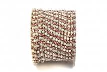 Стразовая цепочка, акрил-стекло, стразы 2 мм, жемчуг-светло-розовый в серебре