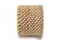 Стразовая цепочка, акрил-стекло, стразы 2 мм, жемчуг-розовый в золоте