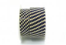 Стразовая цепочка, акрил-стекло, стразы 2 мм, жемчуг-сапфир в золоте