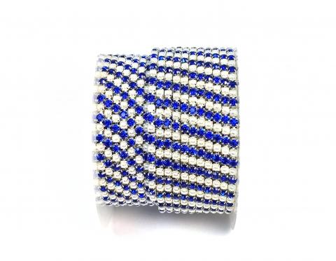 Стразовая цепочка, акрил-стекло, стразы 2 мм, жемчуг-сапфир в серебре