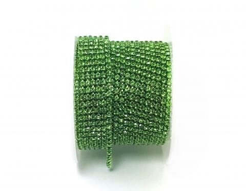 Стразовая цепочка, стекло, стразы 2 мм, перидот в перидоте