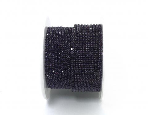 Стразовая цепочка, стекло, стразы 2 мм, фиолетовая в фиолетовом металле