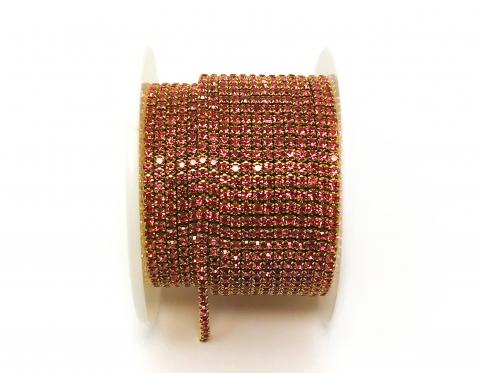 Стразовая цепочка, стекло, стразы 2 мм, розовая в золоте