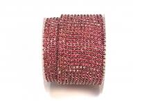 Стразовая цепочка, стекло, стразы 2 мм, розовая в серебре