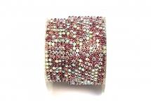 Стразовая цепочка, стекло, стразы 2 мм, розовый микс в серебре