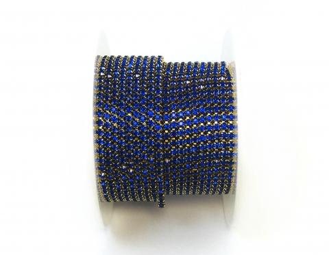 Стразовая цепочка, стекло, стразы 2 мм, сапфир в золоте