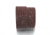 Стразовая цепочка, стекло, стразы 2 мм, сиам в серебре
