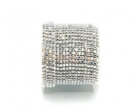 Стразовая цепочка, стекло, стразы 2 мм, серебро в серебре