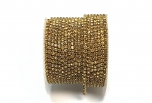 Стразовая цепочка, стекло, стразы 2 мм, топаз в золоте