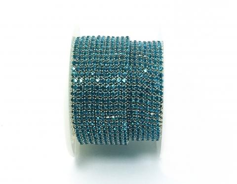 Стразовая цепочка, стекло, стразы 2 мм, бирюзовая в серебре