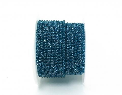 Стразовая цепочка, стекло, стразы 2 мм, бирюзовая в бирюзовом металле