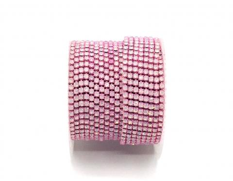 Стразовая цепочка, стекло, стразы 2 мм, белый опал в розовом металле