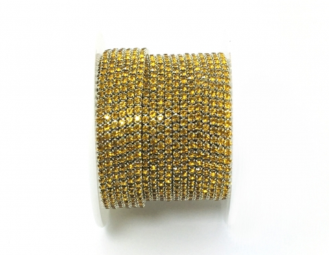 Стразовая цепочка, стекло, стразы 2 мм, жёлтый топаз в серебре