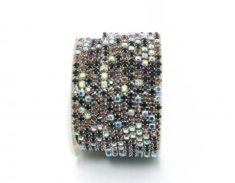 Стразовая цепочка, стекло, стразы 3 мм, аметистовый микс в серебре