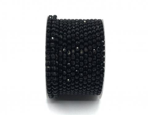 Стразовая цепочка, стекло, стразы 3 мм, чёрная в чёрном