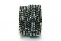 Стразовая цепочка, стекло, стразы 3 мм, чёрная в серебре