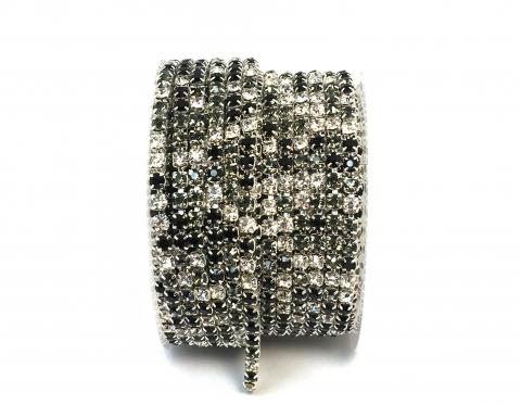 Стразовая цепочка, стекло, стразы 3 мм, чёрный микс в серебре