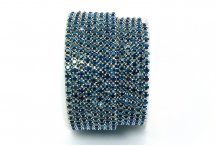 Стразовая цепочка, стекло, стразы 3 мм, синий металлик в серебре