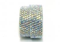 Стразовая цепочка, стекло, стразы 3 мм, радужный кристалл в серебре