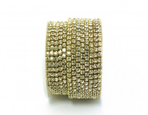 Стразовая цепочка, стекло, стразы 3 мм, кристалл в золоте