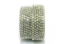 Стразовая цепочка, стекло, стразы 3 мм, кристалл в серебре