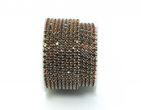 Стразовая цепочка, стекло, стразы 3 мм, янтарная в серебре
