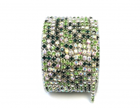 Стразовая цепочка, стекло, стразы 3 мм, зеленый микс в серебре