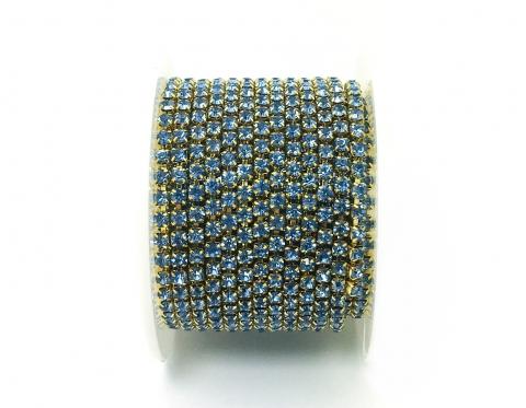 Стразовая цепочка, стекло, стразы 3 мм, светло-синий в золоте