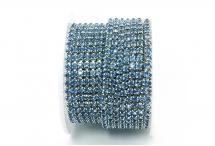 Стразовая цепочка, стекло, стразы 3 мм, светло-синий в серебре