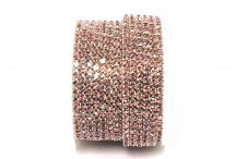Стразовая цепочка, стекло, стразы 3 мм, светло-розовая в серебре