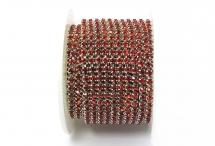 Стразовая цепочка, стекло, стразы 3 мм, светлый сиам в серебре