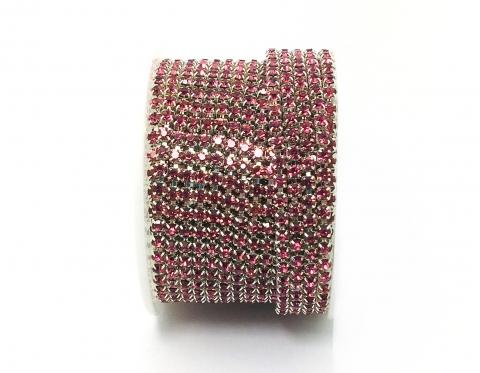 Стразовая цепочка, стекло, стразы 3 мм, розовая в серебре