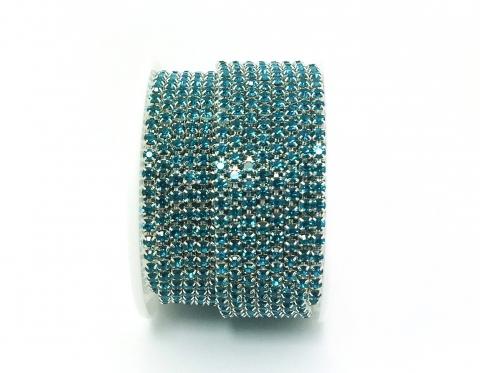 Стразовая цепочка, стекло, стразы 3 мм, бирюзовая в серебре