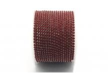 Стразовая цепочка, акрил, стразы 2 мм, бордовая в серебре