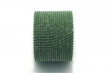 Стразовая цепочка, акрил, стразы 2 мм, зелёная в серебре