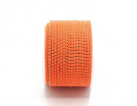 Стразовая цепочка, акрил, стразы 2 мм, оранжевая в серебре