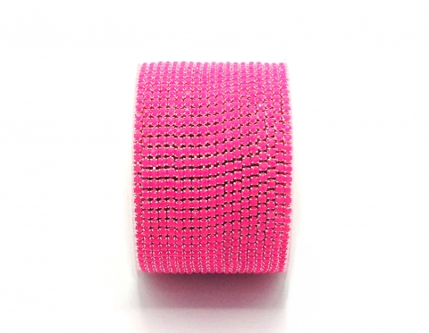 Стразовая цепочка, акрил, стразы 2 мм, розовая в серебре