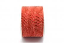 Стразовая цепочка, акрил, стразы 2 мм, красная в серебре