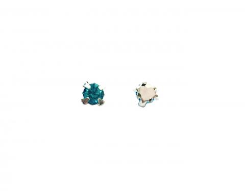 Кристаллы в серебряных цапах, стекло, aquamarine, 4 мм