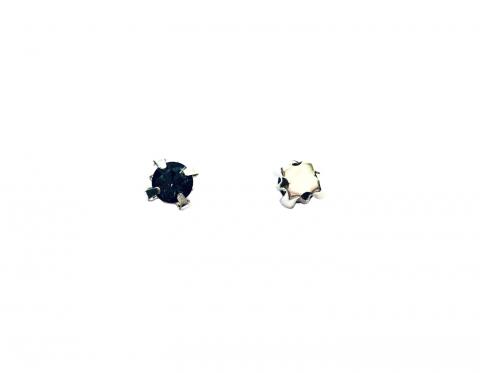 Кристаллы в серебряных цапах, стекло, black diamond, 4 мм