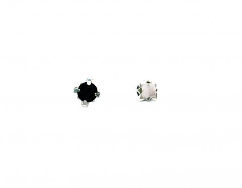 Кристаллы в серебряных цапах, стекло, black, 4 мм