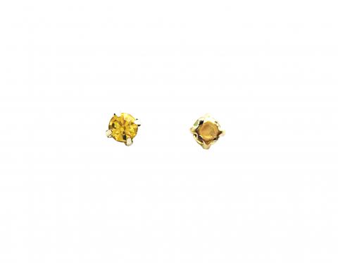 Кристаллы в золотых цапах, стекло, citrine, 4 мм