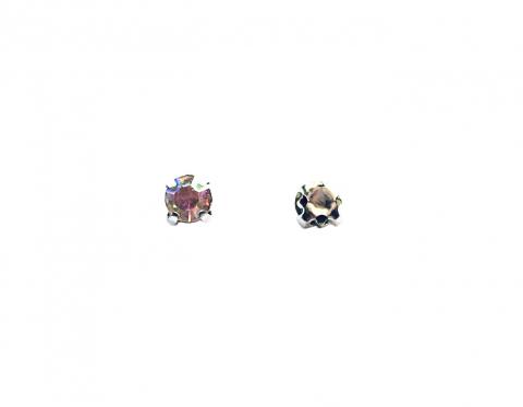 Кристаллы в серебряных цапах, стекло, crystal AB, 4 мм