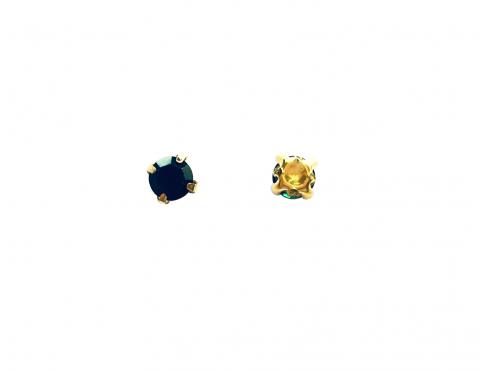 Кристаллы в золотых цапах, стекло, emerald, 4 мм