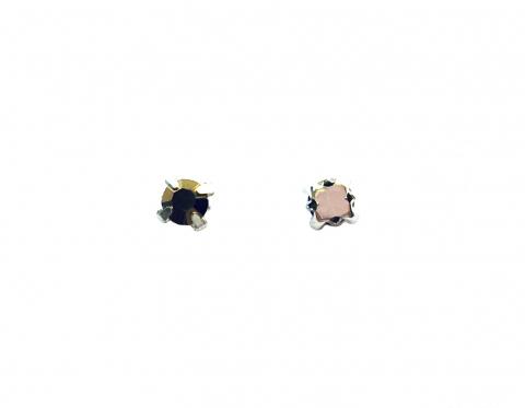 Кристаллы в серебряных цапах, стекло, gold, 4 мм