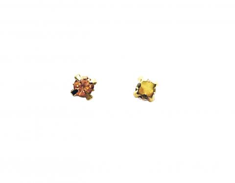 Кристаллы в золотых цапах, стекло, light peach, 4 мм