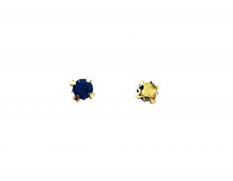 Кристаллы в золотых цапах, стекло, light sapphire, 4 мм