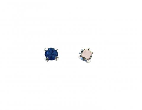 Кристаллы в серебряных цапах, стекло, light sapphire, 4 мм